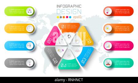 Business infographic on world map background with 8 labels around hexagon circle. - Stock Photo