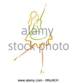 beautiful dancing girl, colorful pattern, young ballerina - Stock Photo