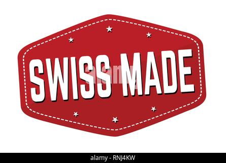 Swiss made sign or stamp on white background, vector illustration - Stock Photo