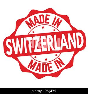 Made in Switzerland sign or stamp on white background, vector illustration - Stock Photo