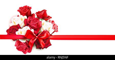 Holiday vector bouquet. Festive greeting card with roses and ribbon. Vector illustration. - Stock Photo