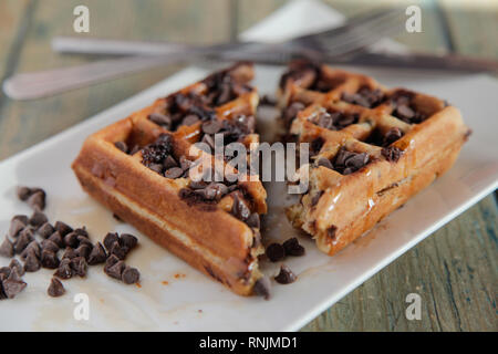 Chocolate Chip Waffle with whipped cream - Stock Photo