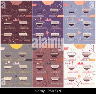 Coffee types vector banners set. Coffee types preparation infographics. Different colour schemes - Stock Photo
