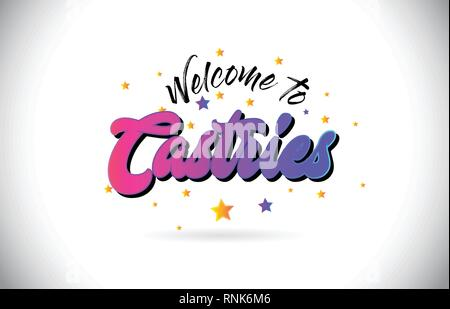 Castries Welcome To Word Text with Purple Pink Handwritten Font and Yellow Stars Shape Design Vector Illusration. - Stock Photo