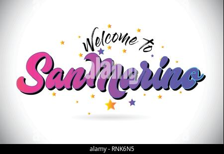 SanMarino Welcome To Word Text with Purple Pink Handwritten Font and Yellow Stars Shape Design Vector Illusration. - Stock Photo