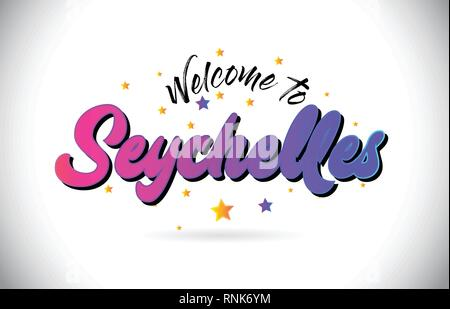 Seychelles Welcome To Word Text with Purple Pink Handwritten Font and Yellow Stars Shape Design Vector Illusration. - Stock Photo