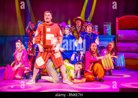 Traditional British pantomime Christmas family entertainment : an amateur non-professional  local theatre company (The Wardens) performing on stage at Aberystwyth Arts Centree. January 2019 - Stock Photo