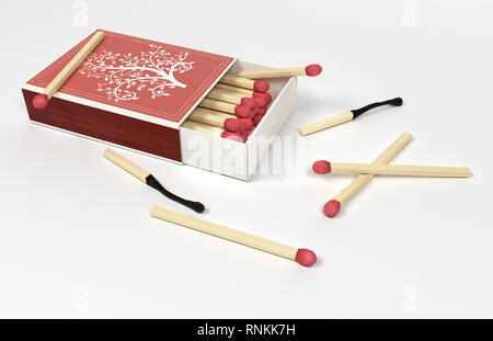 Box of matches. Open box with scattered matches. 3d rendering - Stock Photo