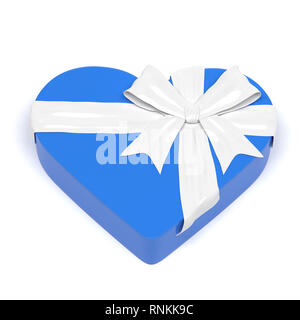 Blue gift box in heart shape. Closed container decorated with white ribbon bow. 3d rendering illustration. - Stock Photo