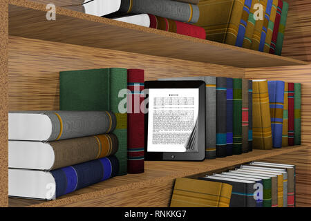 3D illustration. Shelf bookcase with out tablet, ebook - Stock Photo