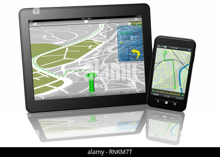 3D illustration. Tablet Smartphone navigator map for journey itineraries. - Stock Photo