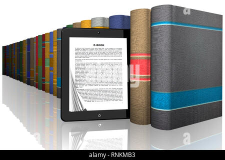 3D illustration. Series of books from which comes out with tablet ebook - Stock Photo