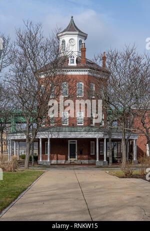 The octagonal Muster House at Boston Navy Yard, Boston, Massachusetts, USA - Stock Photo