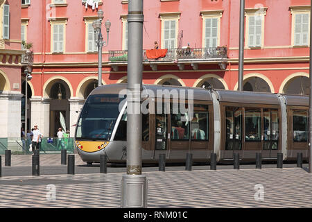 Tram at Place Massena, Nice, South of France - Stock Photo
