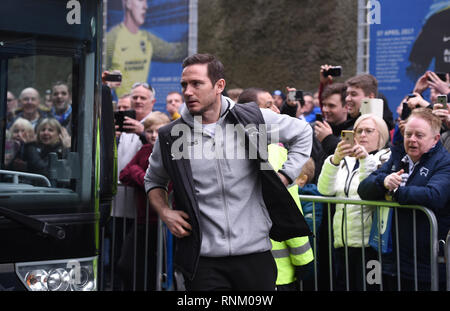 Derby manager Frank Lampard arrives for the FA Cup 5th round match between Brighton & Hove Albion and Derby County at the American Express Community Stadium . 16 February 2019 Editorial use only. No merchandising. For Football images FA and Premier League restrictions apply inc. no internet/mobile usage without FAPL license - for details contact Football Dataco - Stock Photo