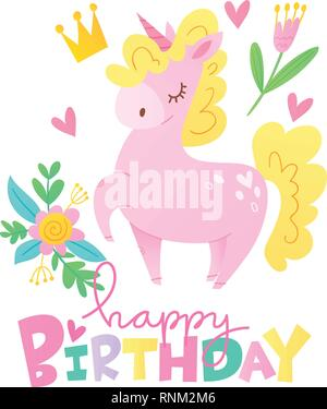 Vector happy birthday cards with cartoon unicorn character - Stock Photo
