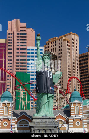 The Statue of Liberty with Las Vegas Aces jersey, New York-New York Hotel & Casino, Las Vegas, Nevada, United States. - Stock Photo
