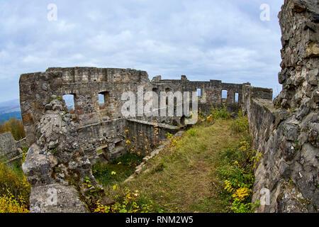 Ruin of Bramberg Castle in autumn. Lower Franconia, Bavaria, Germany - Stock Photo