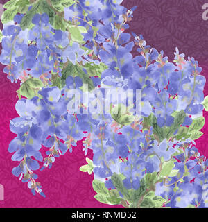 abstract branches of violet wisteria on magenta background with plant decor - Stock Photo