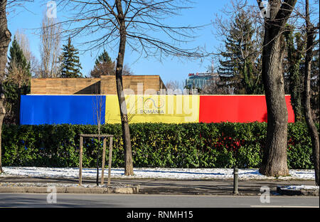 BUCHAREST, ROMANIA - DECEMBER 1, 2018: National Day of Romania (Ziua Nationala Centenar) from Bucharest Romania, International Day with romanian flags - Stock Photo