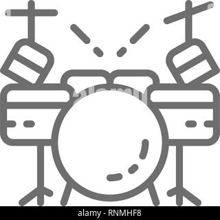 Drum kit, musical instrument line icon. Isolated on white background - Stock Photo