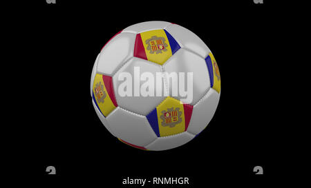 Soccer ball with the flag of Andorra colors, 3d rendering - Stock Photo