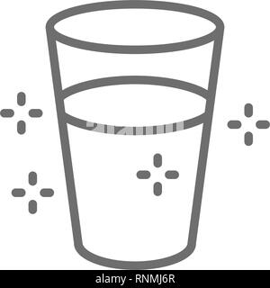 Glass of water line icon. Isolated on white background - Stock Photo