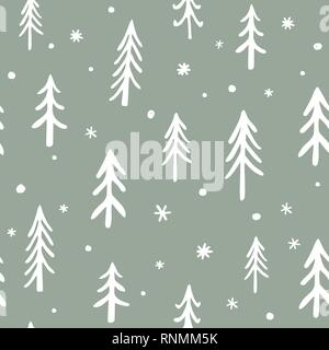 Seamless stylish pattern with cute hand drawn Doodle Pine Trees. Vector Outline illustration, White on Green. - Stock Photo