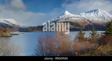 Loch Leven and the Pap of Glencoe (Sgorr na Ciche) in winter, Highland Region, Scotland - Stock Photo