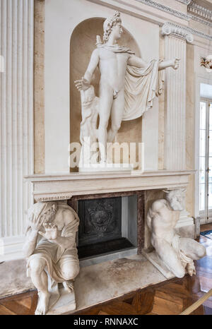 Apollo Belvedere, sculpture by Antonio d'Este, statues of Satyr Marsyas and King Midas, Ballroom, Palace on the Water, Lazienki Park in Warsaw, Poland - Stock Photo