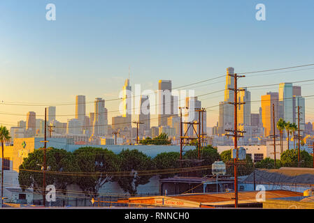 Los Angeles, California, USA - September 22, 2018:View of the Downtown of LA in the evening, night time. - Stock Photo