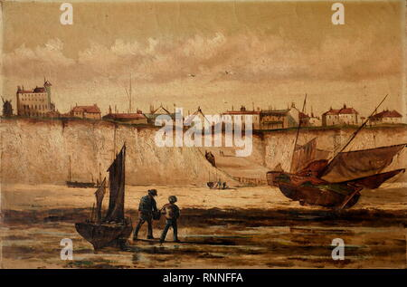 AJAXNETPHOTO. 2019. ENGLAND. - ARTHUR PERCIVAL ART - VIEW OF ROTTINGDEAN PAINTED BY ARTHUR PERCIVAL. 19TH CENTURY ENGLISH SCHOOL. SIGNED AND DATED INDISTINCTLY BY THE ARTIST AND INSCRIBED VERSO 'ROTTINGDEAN NR BRIGHTON FROM THE SHORE, SUSSEX, PAINTED FROM NATURE BY - A.P. 18(XX?).' POSSIBLY 1859 BUT INDISTINCT. MID 19TH CENTURY. PHOTO:© IN THIS DIGITAL COPY OF THE ORIGINAL WORK/AJAX NEWS & FEATURE SERVICE. SOURCE: PRIVATE COLLECTION. REF:GX191702 986 - Stock Photo