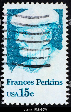 UNITED STATES OF AMERICA - CIRCA 1980: a stamp printed in the United States of America shows Frances Perkins, 1st Woman Cabinet Member, US Secretary o - Stock Photo