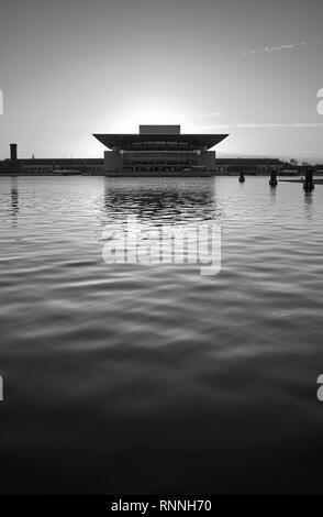Copenhagen, Denmark - October 22, 2018: Silhouette of the Copenhagen Opera House at sunset. - Stock Photo