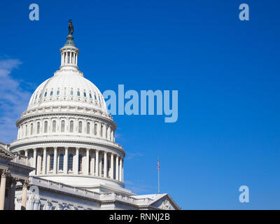 Capitol USA Building. Dome close-up.  The United States Capitol at sunny day.United States Congress. Profile view.  Washington DC. USA - Stock Photo
