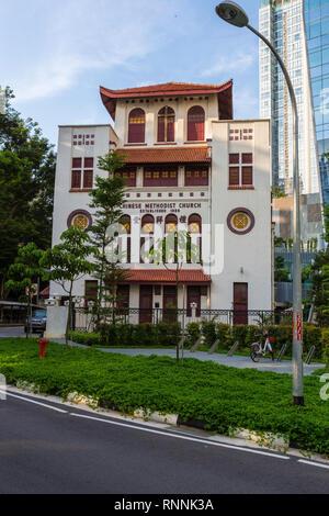 Singapore, Telok Ayer Chinese Methodist Church (1889). - Stock Photo