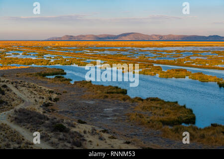 Sunrise on the Titicaca Lake near the city of Puno with a view over the totora reed floating islands of the Uros indigenous group, Peru. - Stock Photo