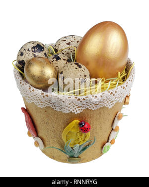 Easter handmade  nest from  paper with  quail an chiken eggs. Isolated on white studio macro shot - Stock Photo