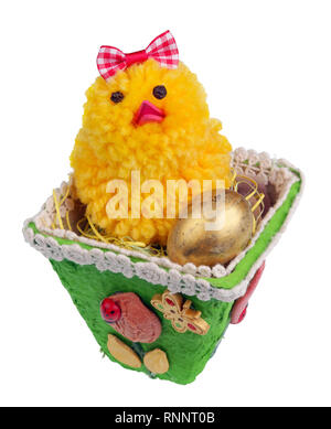 Easter handmade  nest from paper with funny chicken and golden egg. Isolated on white studio macro shot - Stock Photo