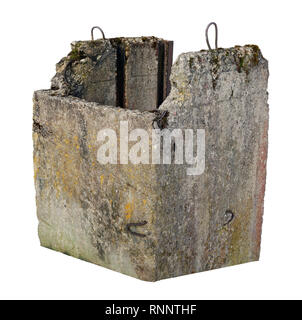 Ancient destroyed concrete pillar of the rustic bridge over the river. Isolated on white outdoor shot - Stock Photo