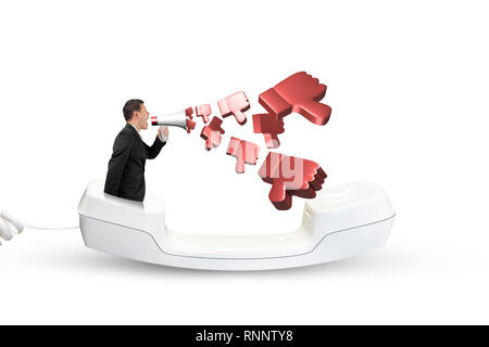Man using megaphone yelling with 3D thumbs down spraying out, in the telephone handset, isolated on white. - Stock Photo