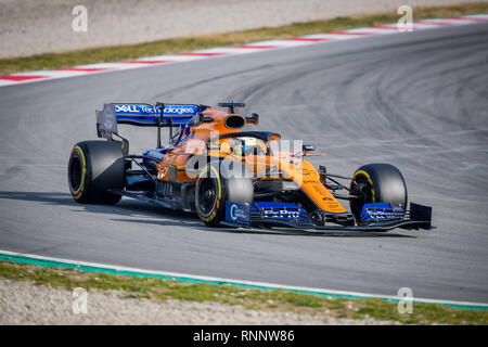 Barcelona, Spain. 19th Feb, 2019. Lando Norris of McLaren during second journey of F1 Test Days in Montmelo circuit. Credit: SOPA Images Limited/Alamy Live News - Stock Photo