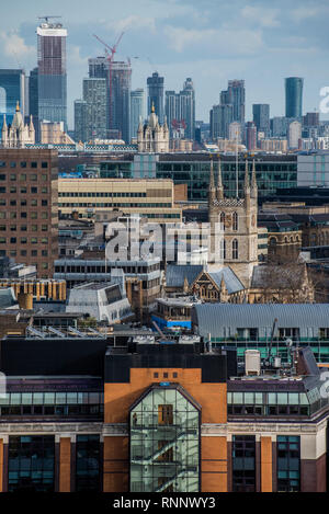 London, UK. 19th Feb, 2019. The City Skyline from the terrace of the Blavatnik Building of the Tate Modern. Credit: Guy Bell/Alamy Live News - Stock Photo