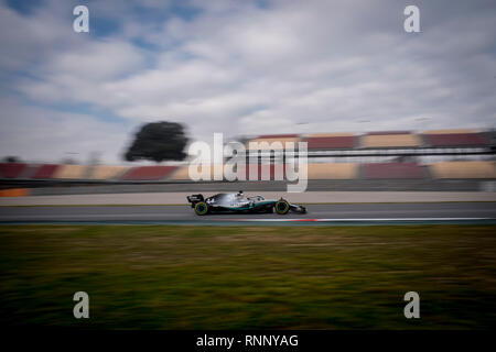 Barcelona, Spain. 19th Feb, 2019. Lewis Hamilton of the Mercedes-AMG Petronas Motorsport team  at the Circuit de Catalunya in Montmelo (Barcelona province)   duirng the pre-season testing session. Credit:  Jordi Boixareu/Alamy Live News - Stock Photo