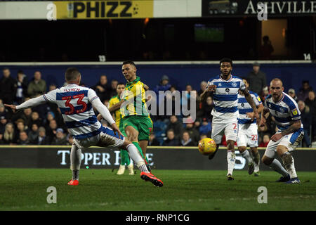 London, UK. 19th Feb, 2019. Kieran Gibbs of West Bromwich Albion (2L) takes a shot at goal. EFL Skybet championship match, Queens Park Rangers v West Bromwich Albion at Loftus Road Stadium in London on Tuesday 19th February 2019.  this image may only be used for Editorial purposes. Editorial use only, license required for commercial use. No use in betting, games or a single club/league/player publications. pic by Steffan Bowen/Andrew Orchard sports photography/Alamy Live news Credit: Andrew Orchard sports photography/Alamy Live News - Stock Photo