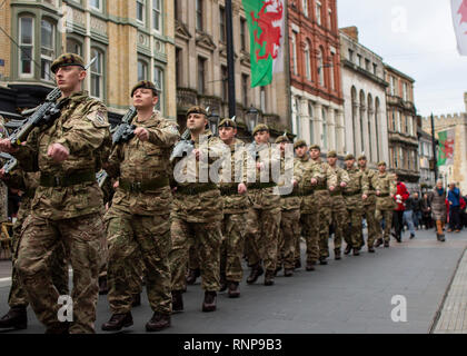 Cardiff, UK. 20th Feb, 2019. The 1st Battalion Welsh Guards homecoming parade, starting at Cardiff Castle, as they return from tour in Afghanistan. Credit: Kerry Elsworth/Alamy Live News - Stock Photo