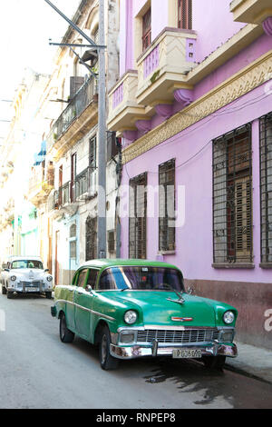 Classic American car parked in old town Havana, Cuba