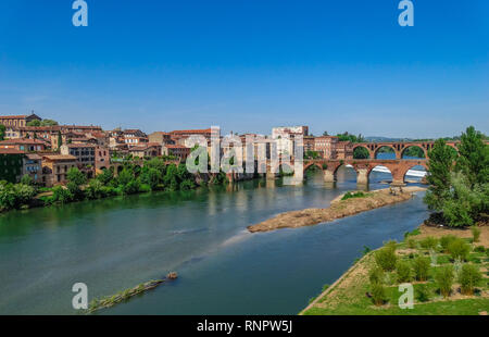 Albi medieval town, on Tarn river, with blue sky, Tarn, France - Stock Photo