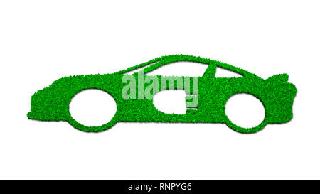 Concept of ECO, green energy and circular economy, green grass in electric car shape with plug-in symbol, isolated on white background, 3D illustratio - Stock Photo