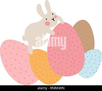 Adventures of Easter bunnies, who are looking for and hiding holiday eggs. Easter design elements in minimalistic vector style. Illustrations for kids - Stock Photo
